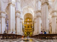 Interior of Granada Cathedral with golden details and columns, Granada, Andalucia, Spain — Stock Photo