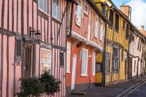 Colorful half timbered houses on Water Street part of the Historic Wool Village of Lavenham, Suffolk, England, United Kingdom, Europe — Stock Photo