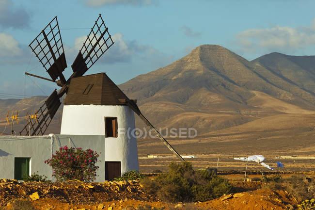 Moinho de vento no vale central, Fuerteventura — Fotografia de Stock