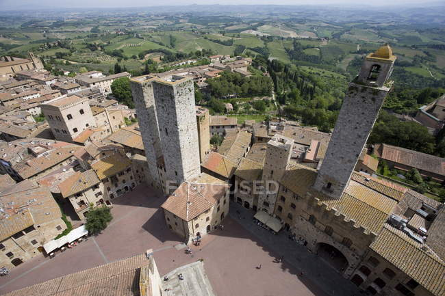 Aerial view of Sam Gimignano — Stock Photo
