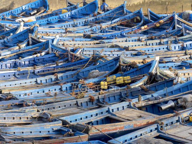 Reihen von Booten in Marokko — Stockfoto