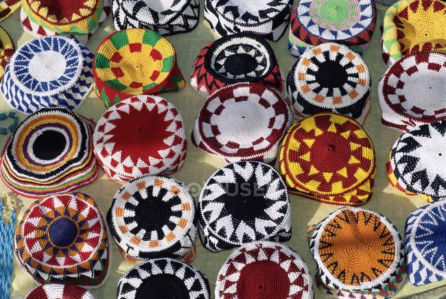 Colourful Nubian skullcaps for sale — Stock Photo