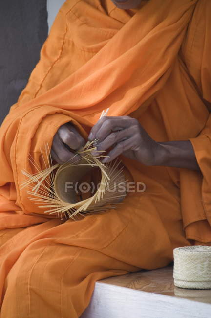 Monk making basket, — Stock Photo