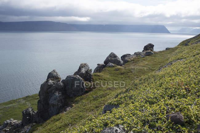 Falaises sur la Côte d'herbe verte et de pierres — Photo de stock