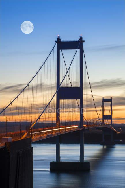 Ponte de Severn velha ao pôr do sol — Fotografia de Stock