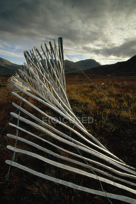 Vue de clôtures à neige et des Landes — Photo de stock