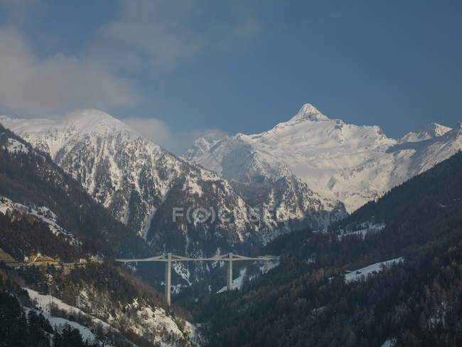 Simplon Pass road bridge and mountains — Stock Photo