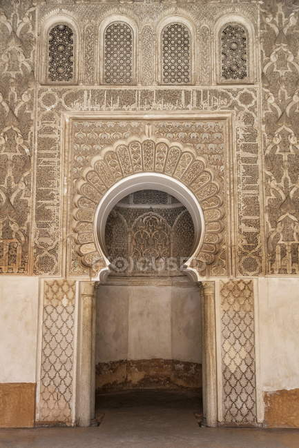 Traditional decorating in Ben Youssef Medersa — Stock Photo