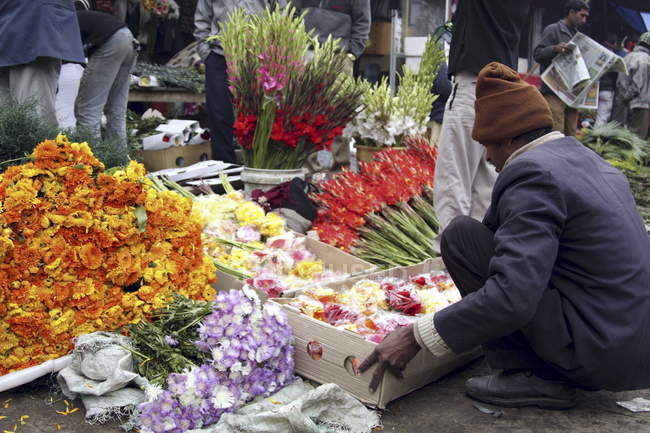 Flower vendors, Delhi — Stock Photo