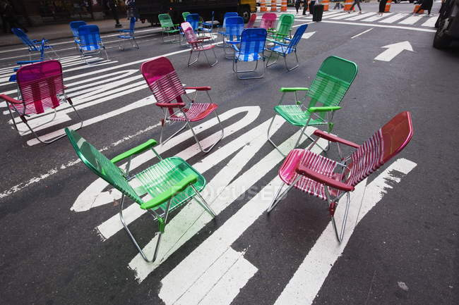 Garden chairs for pedestrians — Stock Photo