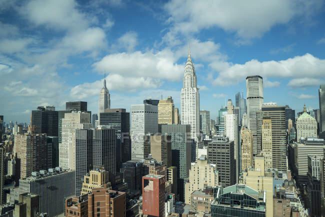 Panoramic view of Manhattan skyscrapers — Stock Photo