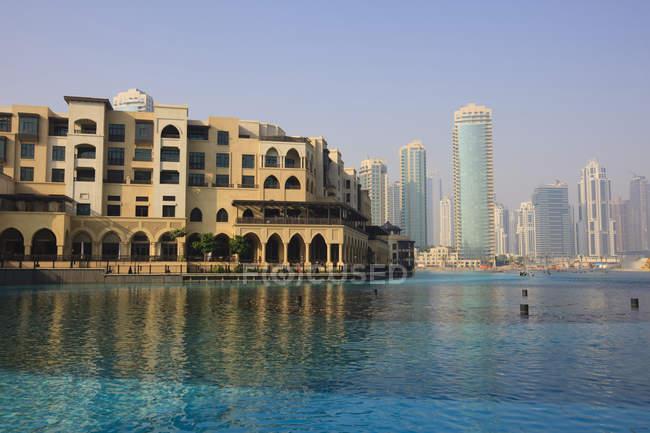 Отмечая мнение Downtown Burj Dubai — стоковое фото