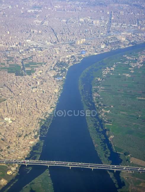Vista aerea di Cairo e Nilo — Foto stock