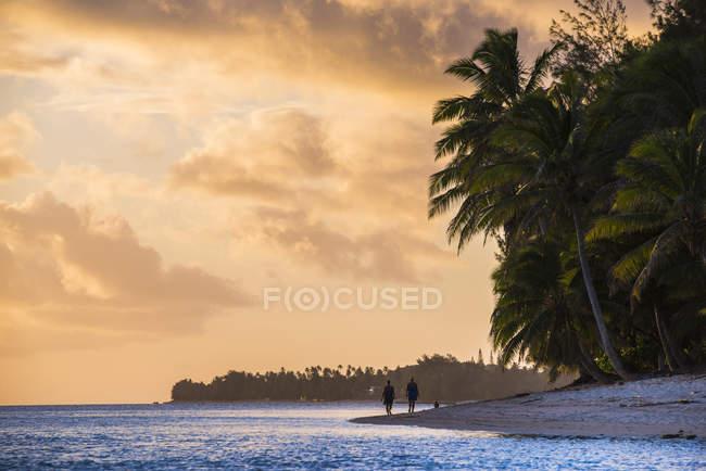 Pessoas caminhando numa praia tropical, ao pôr do sol — Fotografia de Stock