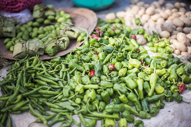 Pile of Green chillies at Ywama Village Market — Stock Photo