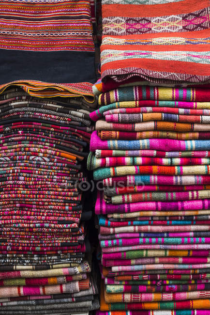 Weavings for sale at street market — Stock Photo