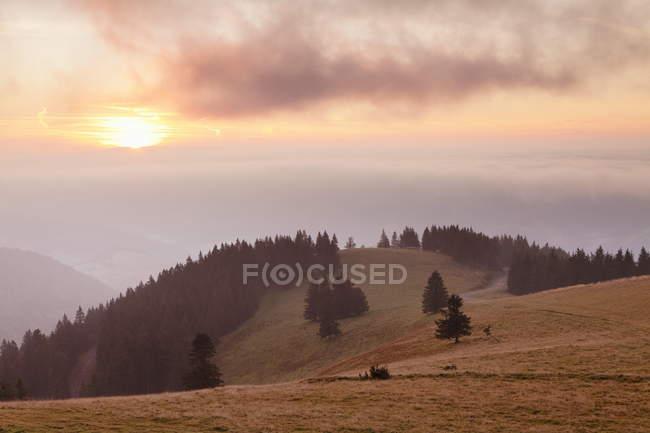 Salida del sol y la niebla de la mañana - foto de stock