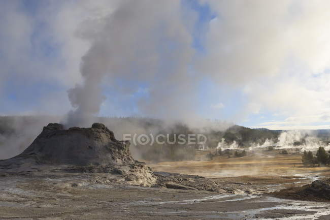 Castle Geyser and steamy surrounds — Stock Photo