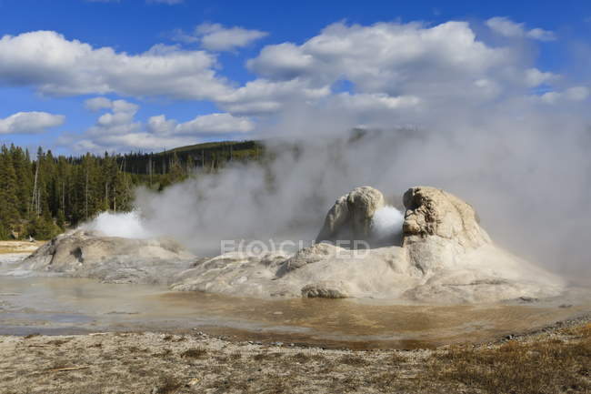 Rocket and Grotto cone geysers — Stock Photo