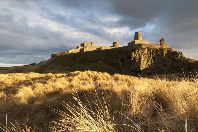Bamburgh замок і dune трава marram — стокове фото