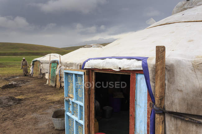 Summer nomad camp under dark skies — Stock Photo