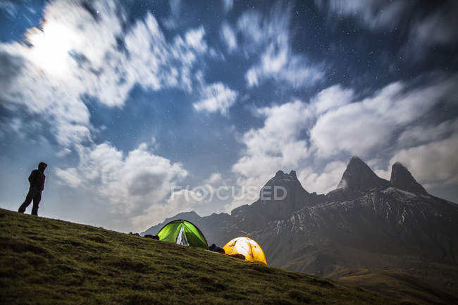 Camping at foot of the Aiguilles d Arves — Stock Photo