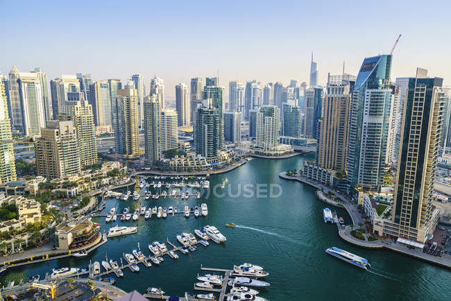 Haute vue Marina de Dubaï — Photo de stock