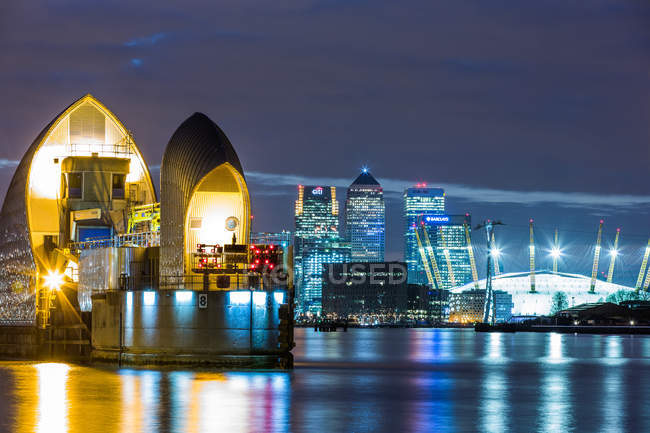 Thames Barrier, Millennium Dome — Foto stock