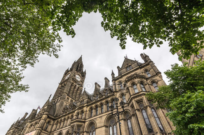 Bottom view of Manchester Town Hall — Stock Photo