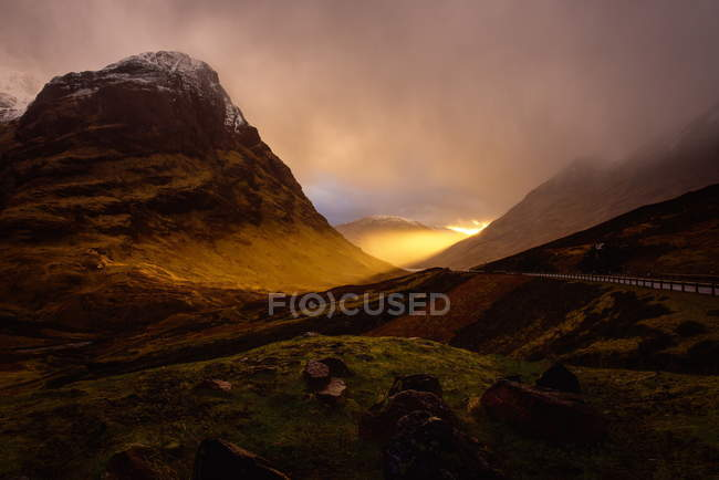 Vista do pôr do sol Glencoe — Fotografia de Stock