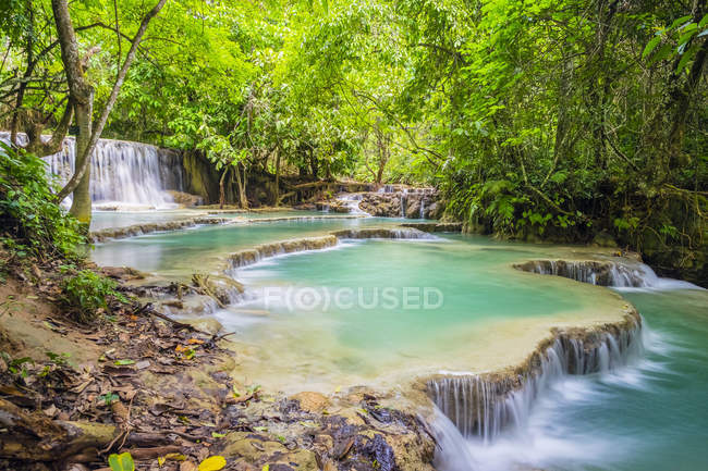 View of Kuang Si Falls Waterfall — Stock Photo