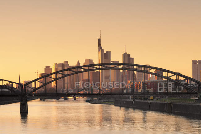 View over Main River to financial district — Stock Photo