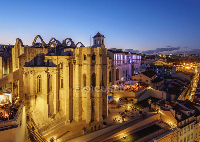 Twilight view of Carmo Convent — Stock Photo
