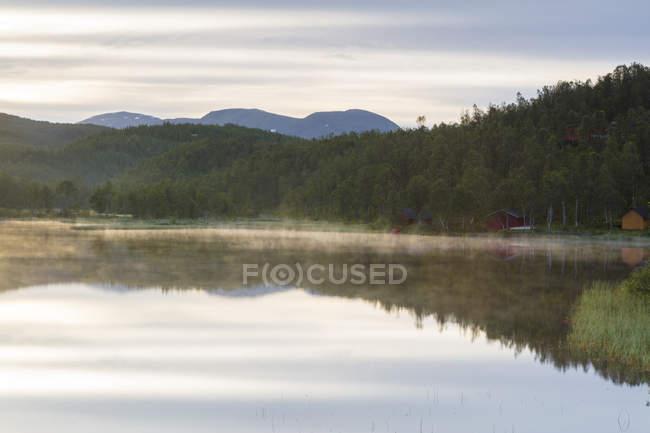 Bosques se reflejan en aguas tranquilas - foto de stock