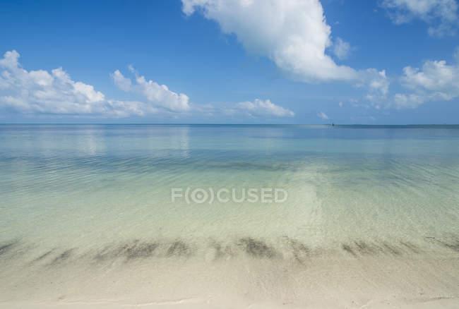 Пляж с белым песком и бирюзовыми водами — стоковое фото