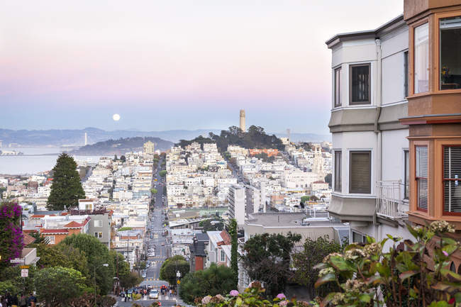 Super moon and view to Bay Area — Stock Photo