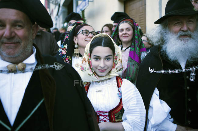Crowd in traditional dress — Stock Photo