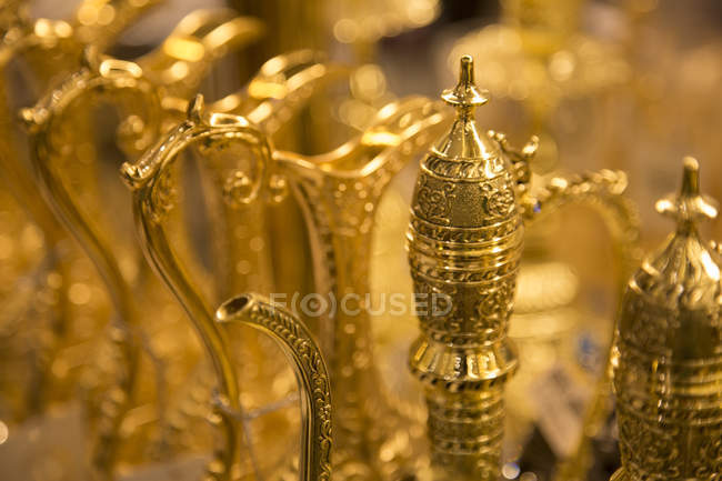 Traditional Arabic tea urns — Stock Photo