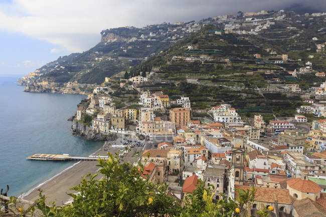 Minori, beach, cathedral, Amalfi Coast — Stock Photo