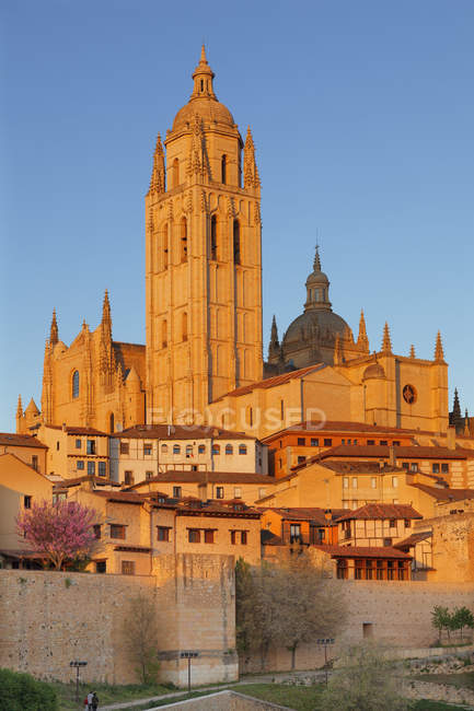 Cathedral at sunset, Segovia — Stock Photo