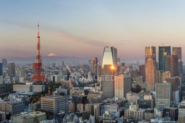 Bâtiments modernes et l'emblématique tour de Tokyo — Photo de stock