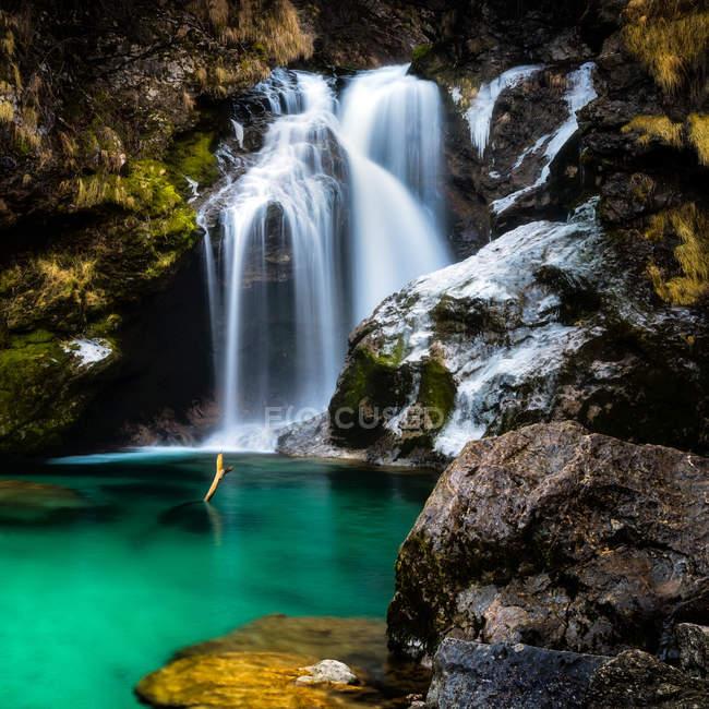 Vintgar Klamm Wasserfall in Slowenien, Europa — Stockfoto