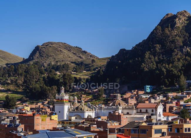 Vista elevata di Copacabana, Bolivia, Sud America — Foto stock