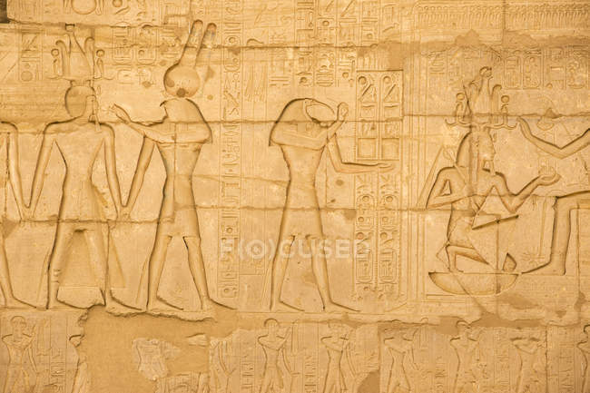 Ієрогліфи в храмі Рамсеса Ii — стокове фото
