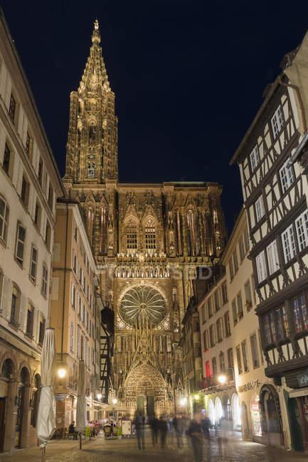 Strasburgo, Alsazia, dipartimento del Bas-Rhin, Francia - 22 maggio 2017: Cattedrale di Notre-Dame di notte — Foto stock