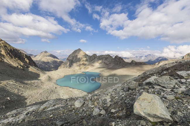 Turquoise water of Lej Lagrev — Stock Photo