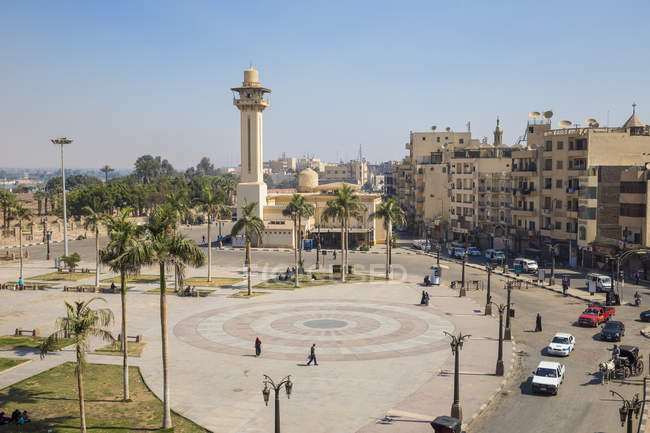 Luxor, Egypt, North Africa, Africa - March 28, 2017: View of central square opposite Luxor temple — Stock Photo