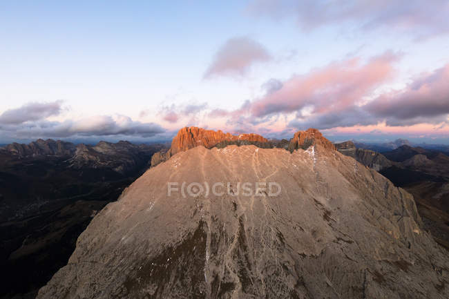 Sassopiatto mountain range at sunset — Stock Photo