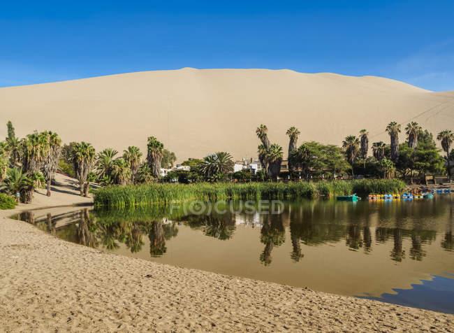 Містечко Оазис і озеро — стокове фото