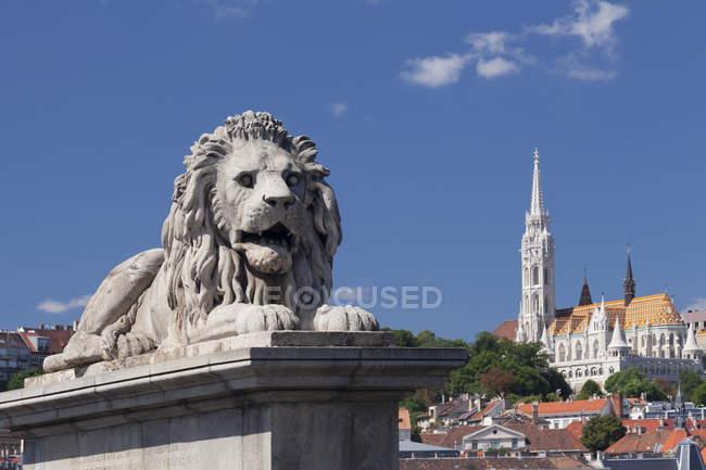 Lion statue on Chain Bridge — Stock Photo